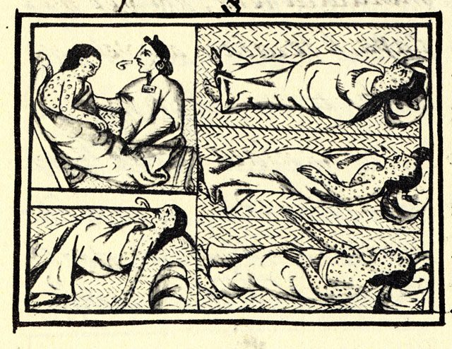 Florentine Codex - infection of Aztecs with smallpox